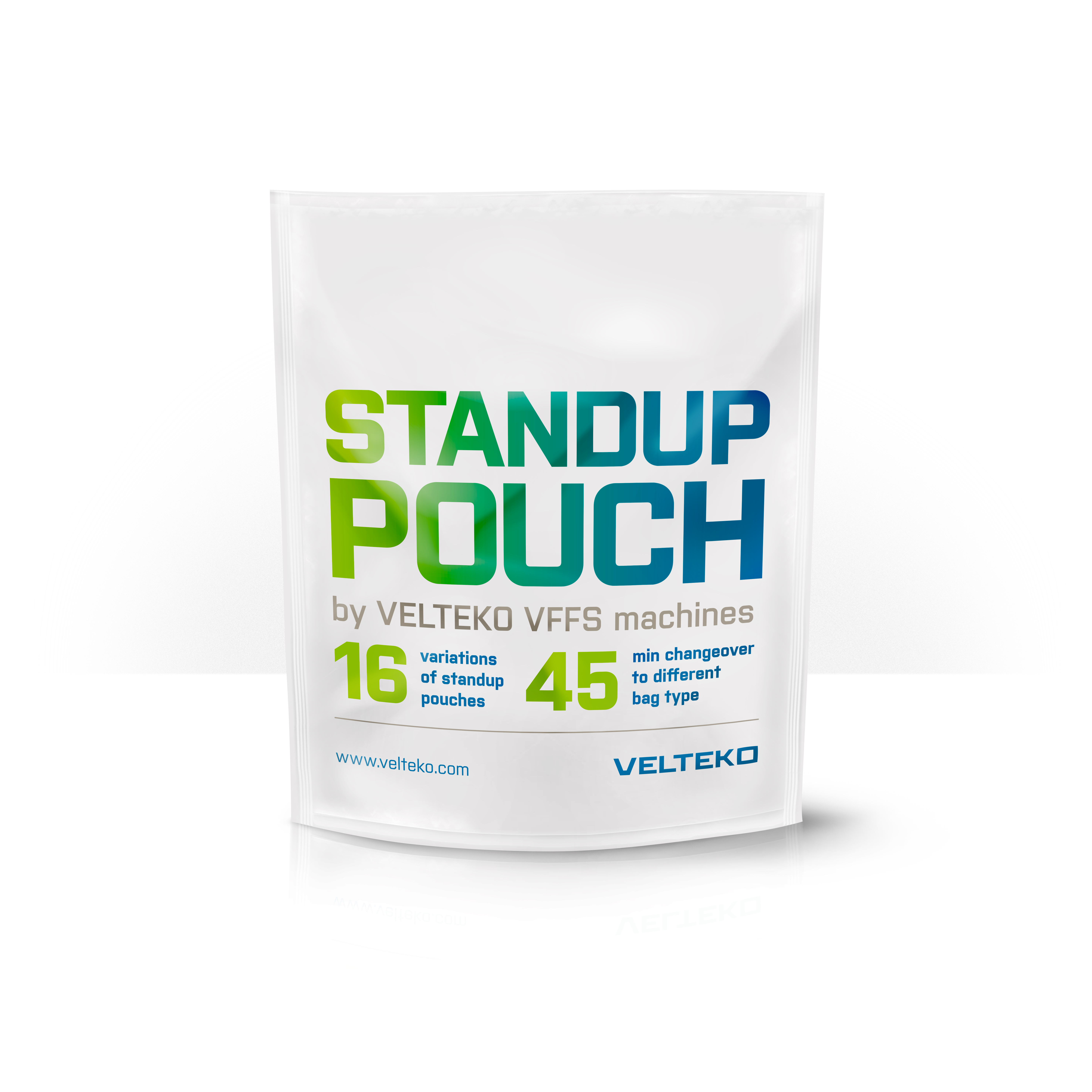 Standup pouches created on Velteko vertical packaging machines